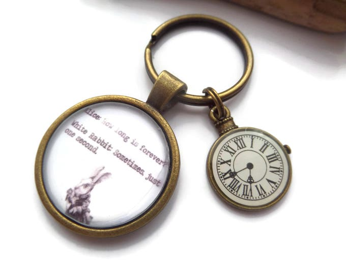 Wonderland keyring, alice fandom gift, alice keyring, just one second, long is forever, glass dome alice, alice gift, wonderland gift,