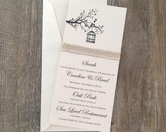 SAMPLE - {Two Birds} DL Wedding Invitation - Flat Card