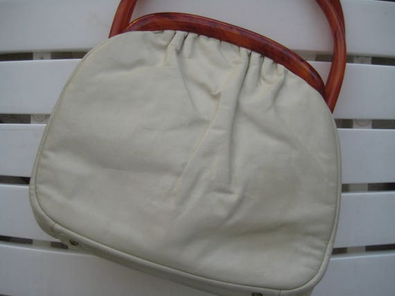 Soft White Leather Bag by Etra