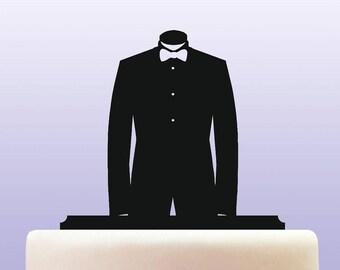 Acrylic Tuxedo And Bowtie Cake Topper