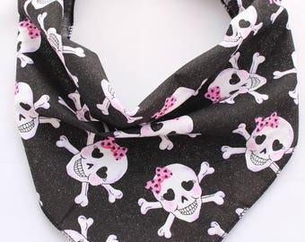 Pink Glitter Skulls Puppy Dog Bandana