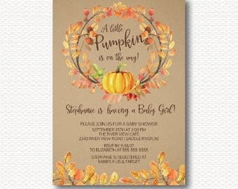 Little Pumpkin Baby Shower Invitation, Leaves, Leaf, Wreath, Floral, Autumn, Fall, KRAFT, Neutral Shower, Typography, Digital, Printable,