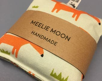 Microwaveable Scandi Fox Fabric Wheat Handwarmers. Re-useable, natural, eco-friendly. Made In Cornwall.