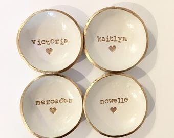 Bridesmaid Gift, Bridesmaid set of 4, Dish Set, Custom Name, Ring Holder, Personalized Dish, Jewlery Holder