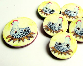 "Chicken Buttons - 18mm, 22mm or 24mm - 2/3"", 7/8"" or 1"" - Australian Made - Handcrafted - Hen Buttons - Chooks - Farmyard - Chicken on nest"