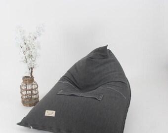 GRAY BEANBAG, Bean Bag Chair,Adults beanbag , teens beanbag , patio furniture,outdoor bean bag, indoor beanbag black and white stripe.