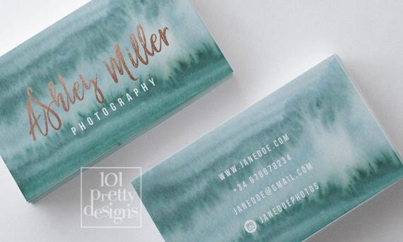 Watercolor business card design rose gold printable business card il570xn reheart Gallery