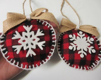 Rustic Buffalo Plaid Snowflake Christmas Ornaments-Fabric Christmas Ornament-Christmas Decor-Buffalo Plaid Decor-Winter Decor-Felt Ornaments