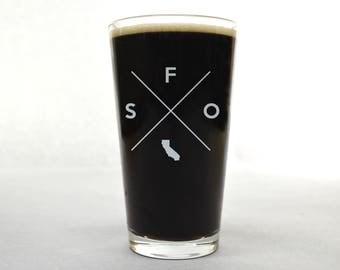 San Francisco Pint Glass | San Francisco Glass - Beer Glass - Pint Glass - Beer Glasses - Pint Glasses - Beer Mug - San Francisco