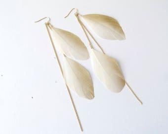 SAHARA Light beige gold dusted feathers, gold earrings, long chain, dangle earrings, feather earrings...UK seller