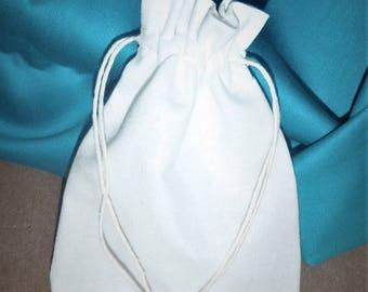 """15 White Cotton Drawstring Pouch * Promotion Bags * Cotton Canvas Pouch * 3.5""""x 4.7"""" ( 9cm x 12cm)"""