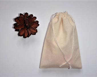 "Muslin Cotton Favor Bags * Weddings * Birthdays * Presentations * 10 Drawstring Bags *  6"" x 7"" (15cm x 18cm)"