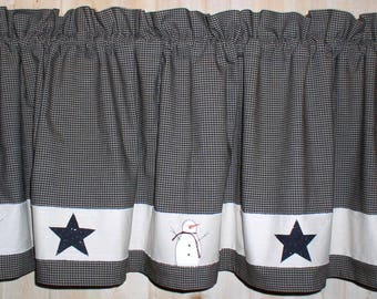 Snowman And Stars Valance Tiers And Runners Winter Kitchen Decor Primitive  Country Curtains Your Choice Of