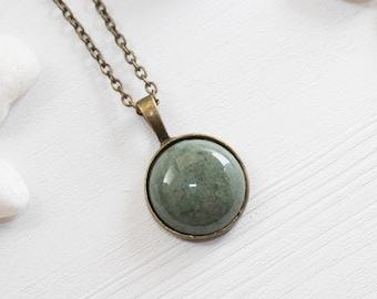 Round Green Stone Necklace, Simple Gemstone Necklace, Round Green Agate Necklace, Gemstone Pendant, Gemstone Jewelry, Agate Jewelry