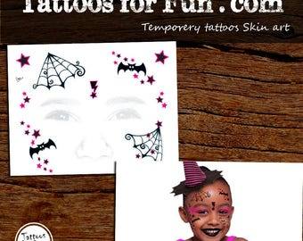 Kids Witch Face Tattoo - Kids Face tattoo- Halloween Face Tattoo - Witch Face Temporary Tattoo - Temporary Mask Tattoo -  Face Tattoo Art