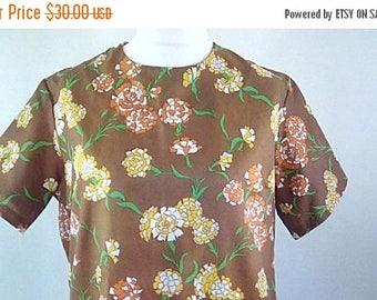 summer sale Vintage dress 60s brown floral scooter mod dress size extra large XL