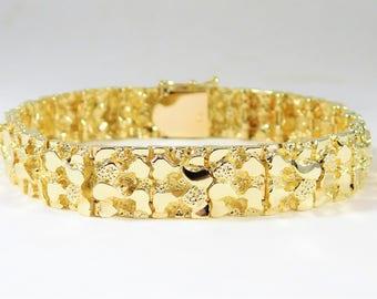 Handsome Vintage 14k Gold Nugget Bracelet