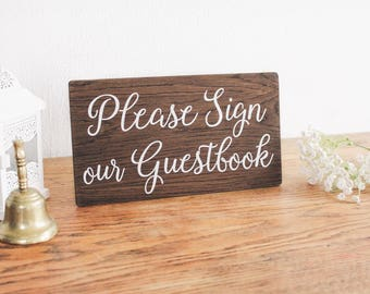 Please Sign Our Guestbook Wedding Sign, Rustic Wooden Sign, Table Sign, Wedding Decor. Boho Wedding. Reception Decor