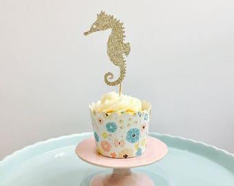 12ct Seahorse cupcake topper, Seahorse cupcake, Seahorse glitter cupcake toppers, sea animal cupcake topper