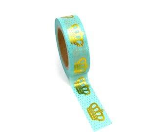Washi Tape Royal Crown Green Aqua Gold Metallic Foil 10m