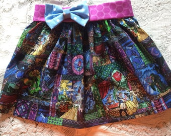 Stained Glass Beauty and the Beast Belle Rose Elastic Waist Twirl Skirt Baby Toddler Girl