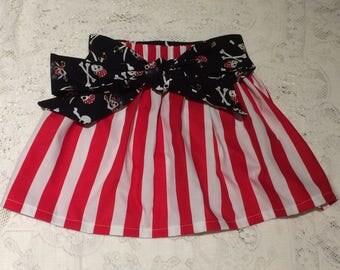 Pirates of the Caribbean Pirate Costume Elastic Waist Skirt Skulls Baby Toddler Girl