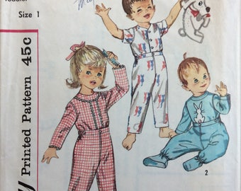 Simplicity 4535 toddler's pajamas with bunny transfer size 1 or size 3 or size 4 vintage 1960's sewing pattern