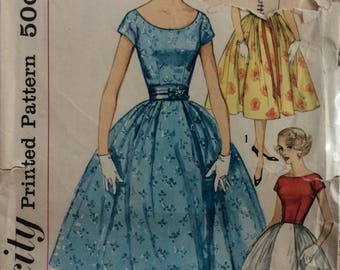 Simplicity 2491 junior misses dress with full skirt size 11 bust 31 1/2 vintage 1950's sewing pattern