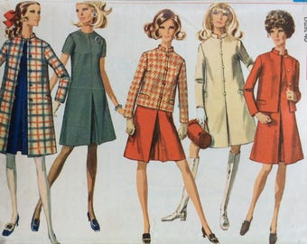 Simplicity 7809 misses dress, coat & jacket size 18 bust 40 vintage 1960's sewing pattern