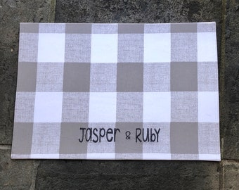 Taupe Buffalo Plaid Dog Placemat || Beige Personalized Stylish Bowl Mat || Custom Pet Feeding Station by Three Spoiled Dogs