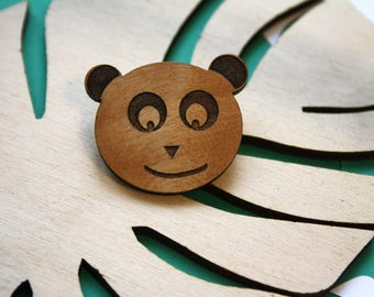 Panda brooch, wooden badge, pin's, natural accessory, wood engraved, man or women jewel, cute animal shape, made in France, kawaii style