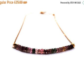 ON SALE Tourmaline necklace, Watermelon Tourmaline necklace, 14kt gold chain, Tourmaline necklace, Gemstone necklace