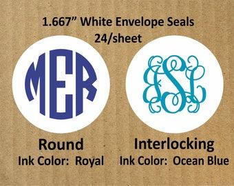 "Monogram Round White Envelope Seals, 24 Seals, 1.667"" Round White Seals, Envelope Seals, Monogram Envelope Seals, Monogram"