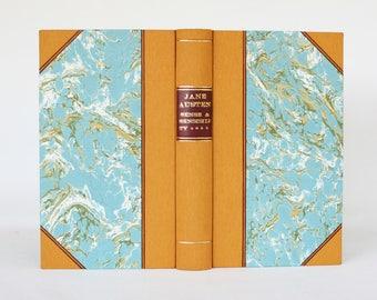 Jane Austen, Sense and Sensibility, classic literature, bookbinding, handbound book, handmade bindingding, cloth binding