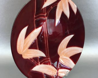 """Red Bamboo Vintage Mid Century Copper Enamel Decorative 8"""" Plate"""