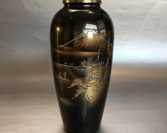 "8"" Japan vintage engraved metal vase mid century Asian Japanese"