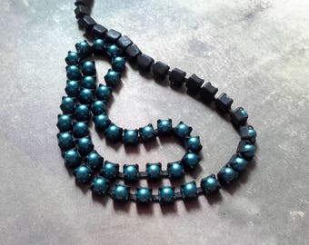Rustic Pearl cup chain rich aqua blue green aged brass 4mm