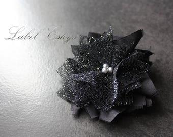 Holiday silver and black flower hair clip
