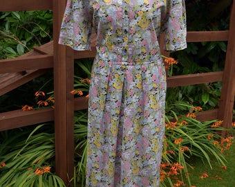 Vintage 1970s does 1940s WW2 Landgirl Goodwood LIBERTY Fabric Floaty Floral 100% Fine Cotton Tea Dress XL