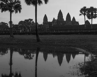 Angkor Wat in Black & White | Siem Reap, Cambodia ~ Temple, ancient, hindu, architecture, silhouette, reflection, Angkor Thom, Ta Prohm