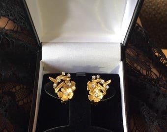 1970's  DIAMOND FLORAL EARRINGS