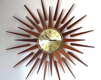 60s amazing mid century Seth Thomas large starburst sunburst wall clock