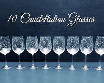 Set of 10 Handpainted Star Constellation Wine Glasses - Custom Order Your Own Set