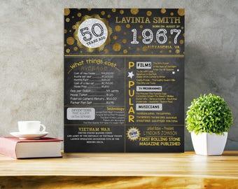 50th birthday poster printable Black gold silver 50th birthday printable poster