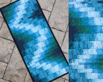 "Quilted table runner table topper ocean blues bargello style   Van Gogh gradient fabric 32"" x 14"" table decor dresser scarf runner"