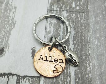 Football Player or Coach Gift - Graduation Gift - Football Penny Keychain - Personalized Penny - Senior Gift - Class of 2017 - Class of 2018