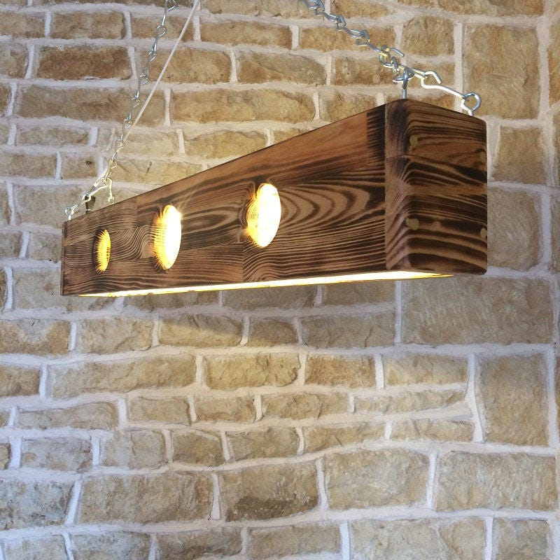 Long ceiling light pendant wooden fixture