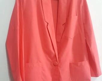 M.J. Carroll Summer Stretch  Blazer Womens 90s Vintage Designer Winklemans Coral  Denim Shorts Small Blazers