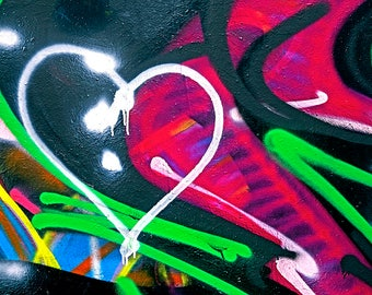 Graffiti Photograph, Graffiti Heart Photo, Venice LA, Urban Art, Heart Photography, Decor Art, Multi Primary Colors, The Heart of Graffiti