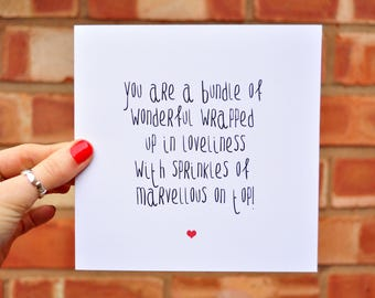 Bundle Of Wonderful Typography Quote Card - Lovely Positive Quote Greetings Card- Friendship Card - Love Card - Anniversary Greetings Card